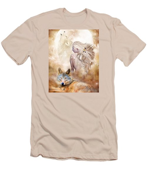 Men's T-Shirt (Athletic Fit) featuring the mixed media Wolf Moon Goddess by Carol Cavalaris