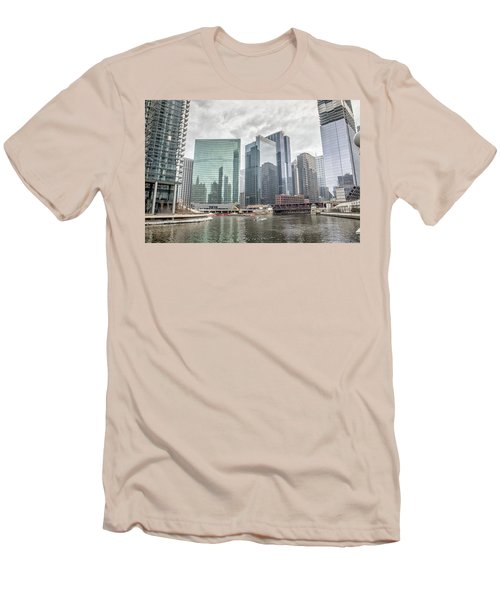 Men's T-Shirt (Slim Fit) featuring the photograph Wolf Point Where The Chicago River Splits by Peter Ciro