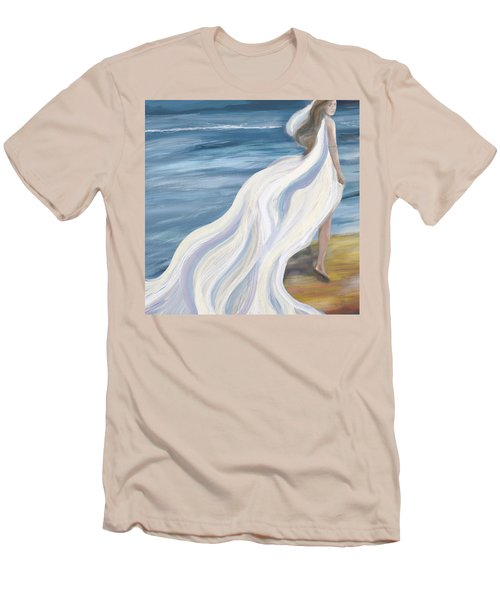 Woman Strolling On The Beach Men's T-Shirt (Athletic Fit)