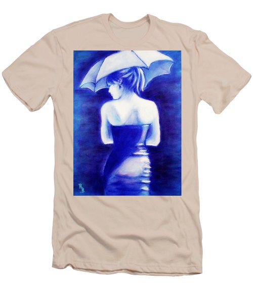 Woman With An Umbrella Blue Men's T-Shirt (Athletic Fit)