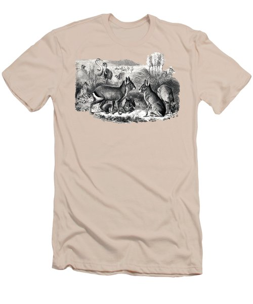 woodcut drawing of South American Maras Men's T-Shirt (Slim Fit) by The one eyed Raven