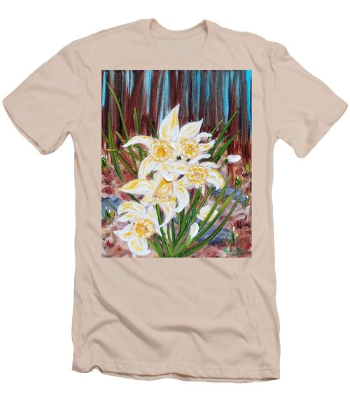 Men's T-Shirt (Athletic Fit) featuring the painting Woodland Daffodils by Judith Rhue
