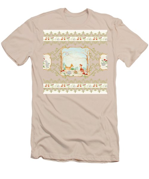 Woodland Fairy Tale - Blush Pink Forest Gathering Of Woodland Animals Men's T-Shirt (Athletic Fit)