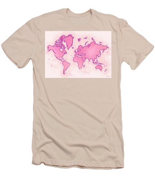World Map Airy In Pink And White Men's T-Shirt (Athletic Fit)