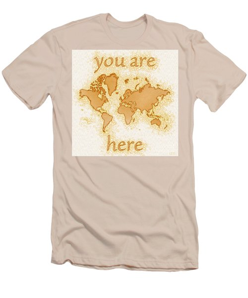 World Map Airy You Are Here In Brown And White  Men's T-Shirt (Slim Fit) by Eleven Corners