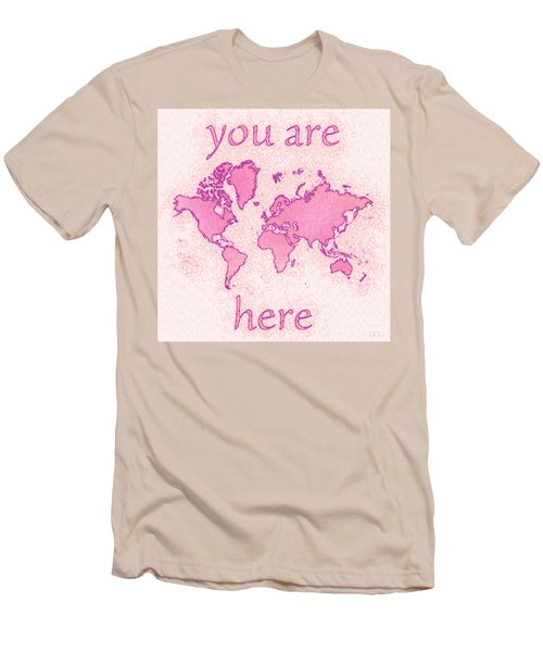 World Map Airy You Are Here In Pink And White Men's T-Shirt (Slim Fit) by Eleven Corners