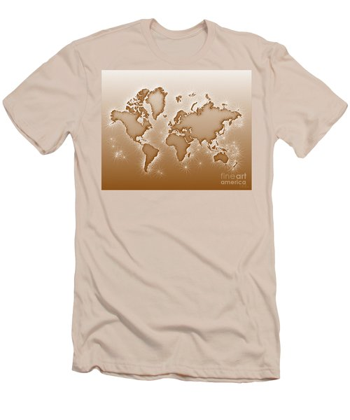 World Map Opala In Brown And White Men's T-Shirt (Athletic Fit)