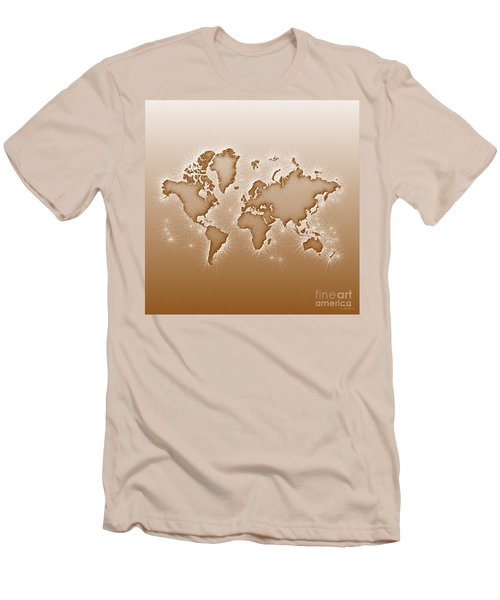 World Map Opala Square In Brown And White Men's T-Shirt (Athletic Fit)