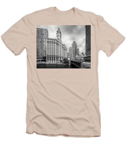 Men's T-Shirt (Slim Fit) featuring the photograph Wrigley Building Chicago by Adam Romanowicz