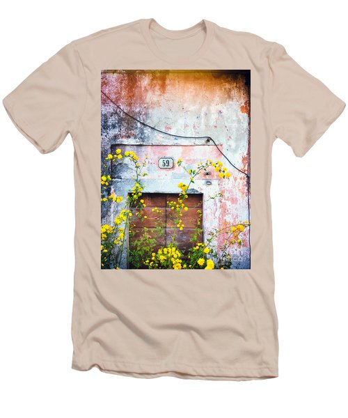 Yellow Flowers And Decayed Wall Men's T-Shirt (Slim Fit) by Silvia Ganora