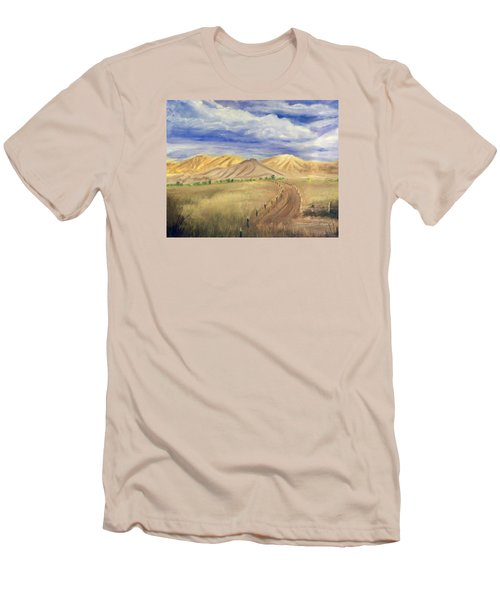 Yellow Hills Of Jensen Men's T-Shirt (Slim Fit) by Sherril Porter