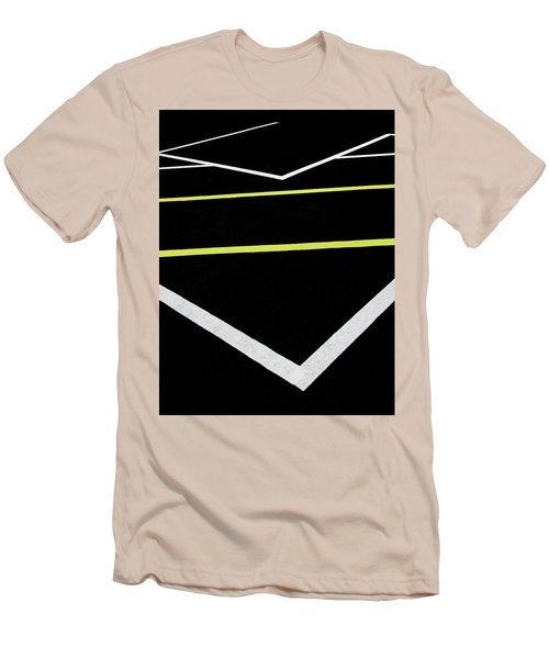 Yellow Traffic Lines In The Middle Men's T-Shirt (Athletic Fit)
