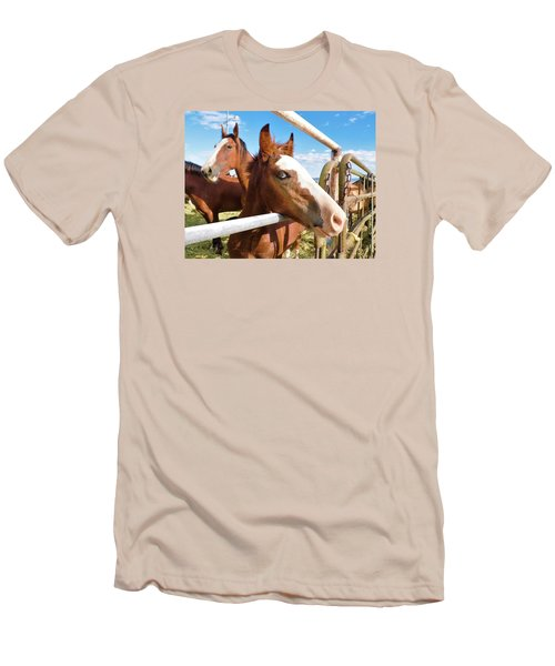Young Blue Eyed Horse Men's T-Shirt (Slim Fit) by Deborah Moen