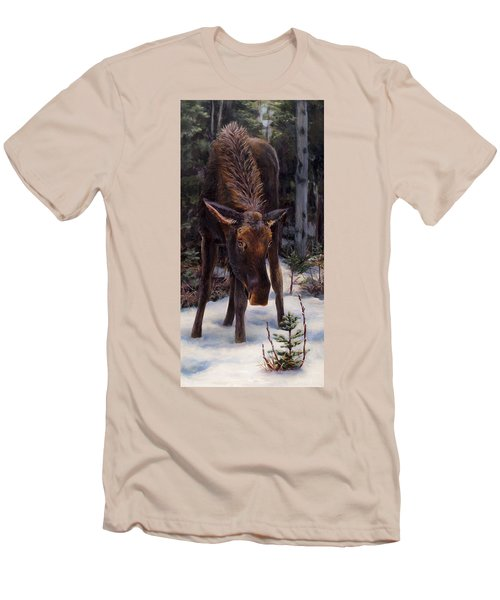 Young Moose And Pussy Willows Springtime In Alaska Wildlife Painting Men's T-Shirt (Slim Fit) by Karen Whitworth