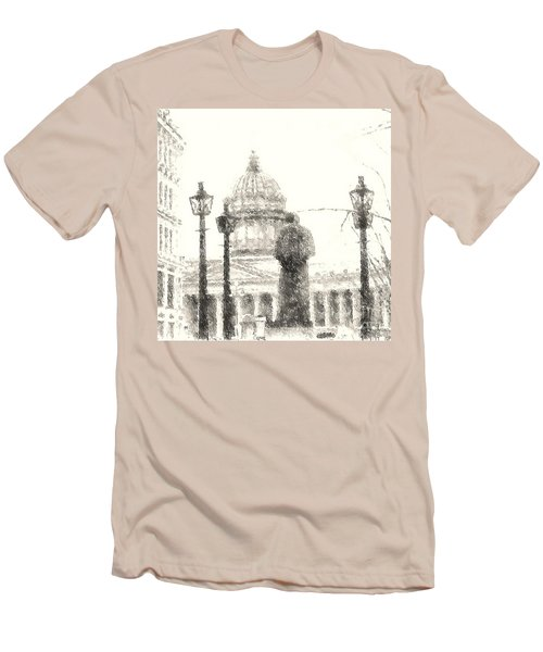Men's T-Shirt (Slim Fit) featuring the drawing Yury Bashkin City Poem by Yury Bashkin