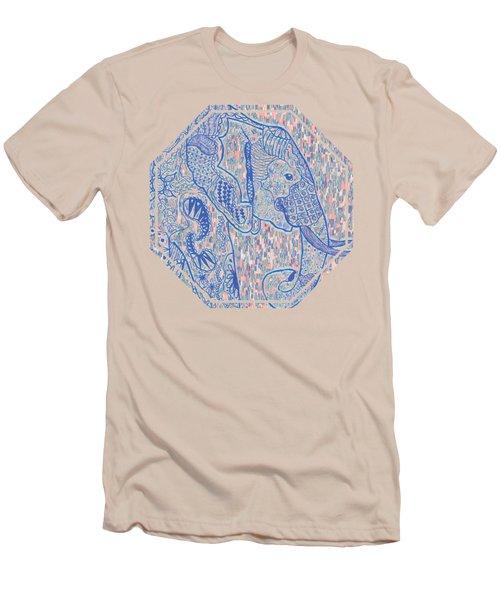 Zentangle Elephant-oil Men's T-Shirt (Slim Fit) by Becky Herrera