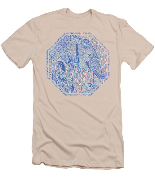 Zentangle Elephant-oil Men's T-Shirt (Athletic Fit)