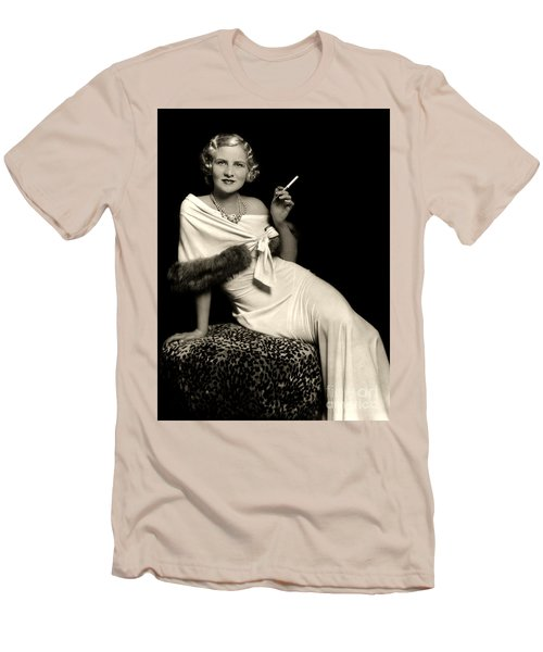 Ziegfeld Model Reclining In Evening Dress  Holding Cigarette By Alfred Cheney Johnston Men's T-Shirt (Athletic Fit)
