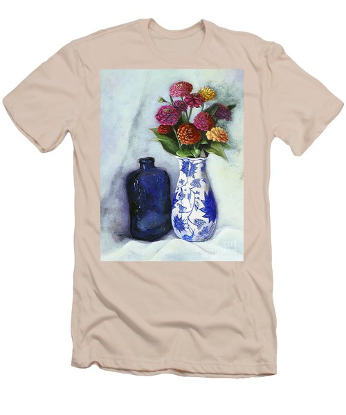 Zinnias With Blue Bottle Men's T-Shirt (Slim Fit) by Marlene Book