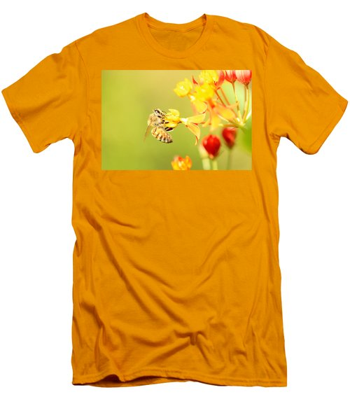 Men's T-Shirt (Slim Fit) featuring the photograph  Bee On Milkweed by Greg Allore