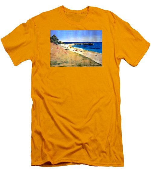 Men's T-Shirt (Slim Fit) featuring the painting Cottesloe Beach by Therese Alcorn