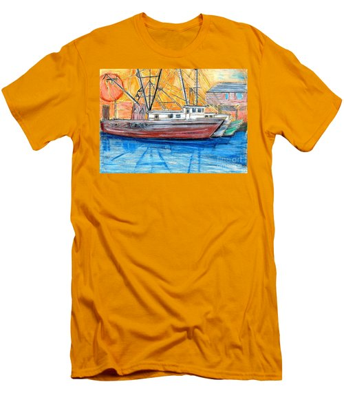 Men's T-Shirt (Slim Fit) featuring the drawing Fishing Trawler by Eric  Schiabor