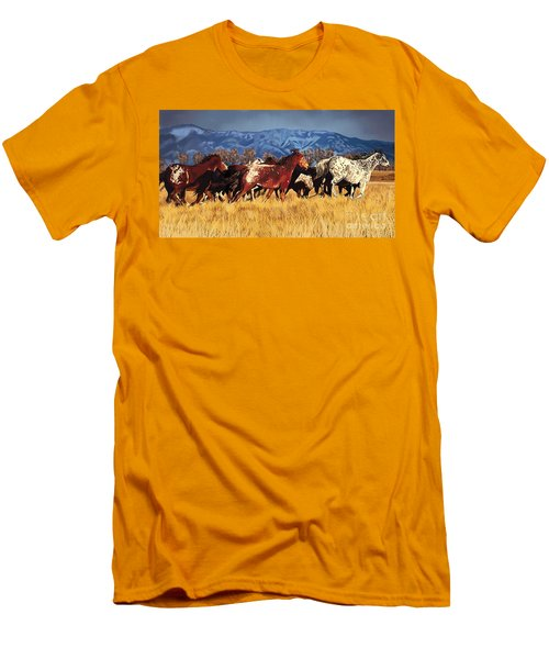Men's T-Shirt (Slim Fit) featuring the painting Joe's Horses by Tim Gilliland