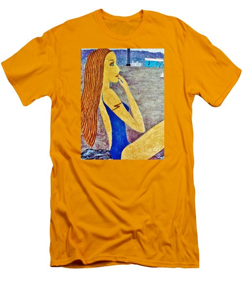 Men's T-Shirt (Slim Fit) featuring the painting Lady  by Jasna Gopic