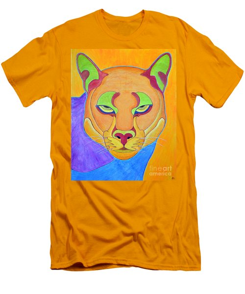 Men's T-Shirt (Slim Fit) featuring the painting Puma 1 by Joseph J Stevens