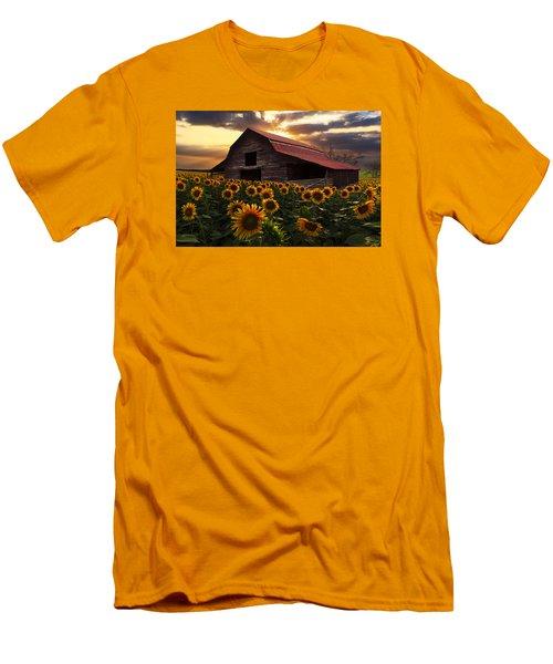 Sunflower Farm Men's T-Shirt (Slim Fit) by Debra and Dave Vanderlaan