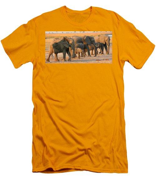 Men's T-Shirt (Slim Fit) featuring the photograph Kalahari Elephants by Amanda Stadther