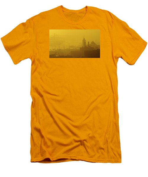 Men's T-Shirt (Slim Fit) featuring the photograph A Foggy Golden Sunset In Honolulu Harbor by Lehua Pekelo-Stearns