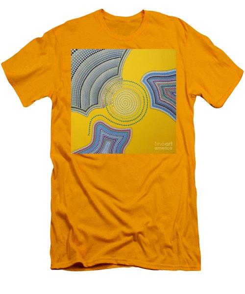 Men's T-Shirt (Slim Fit) featuring the painting Aboriginal Inspirations 35 by Mariusz Czajkowski