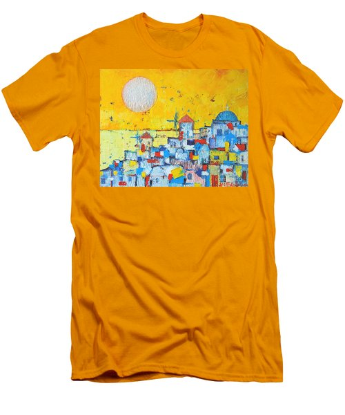 Abstract Santorini - Oia Before Sunset Men's T-Shirt (Slim Fit) by Ana Maria Edulescu