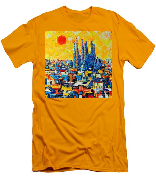 Abstract Sunset Over Sagrada Familia In Barcelona Men's T-Shirt (Slim Fit) by Ana Maria Edulescu