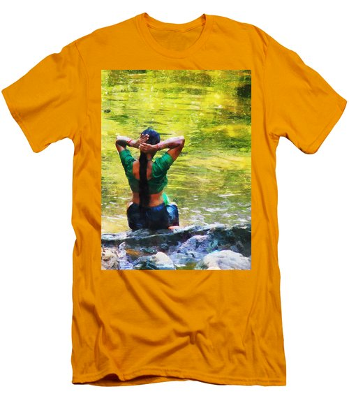 After The River Bathing. Indian Woman. Impressionism Men's T-Shirt (Slim Fit) by Jenny Rainbow
