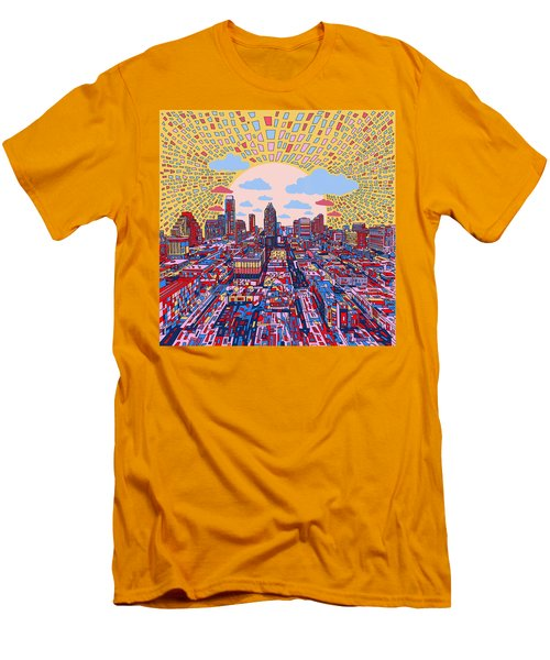 Austin Texas Abstract Panorama 2 Men's T-Shirt (Slim Fit) by Bekim Art