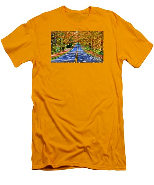 Autumn Road Oneida County Ny Men's T-Shirt (Slim Fit) by Diane E Berry