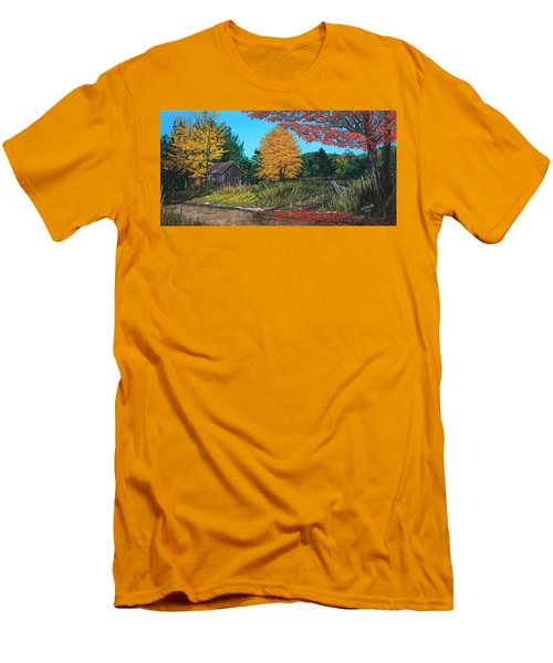 Men's T-Shirt (Slim Fit) featuring the painting Autumns Rustic Path by Wendy Shoults