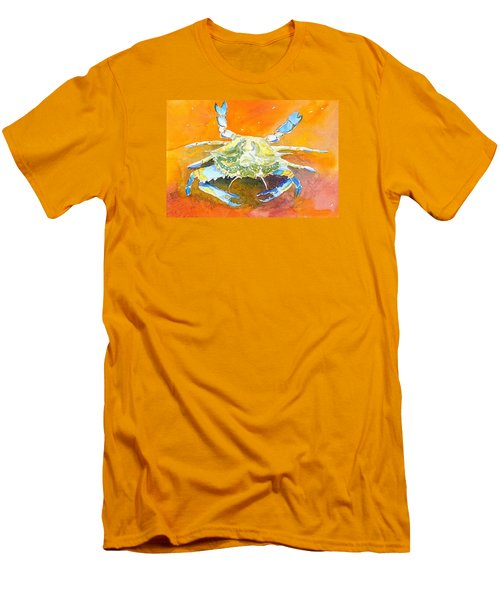 Blue Crab Men's T-Shirt (Slim Fit) by Anne Marie Brown