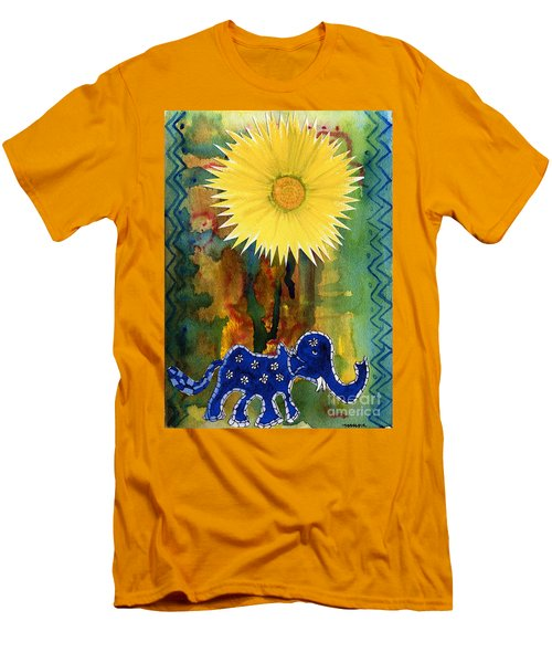 Men's T-Shirt (Slim Fit) featuring the painting Blue Elephant In The Rainforest by Mukta Gupta