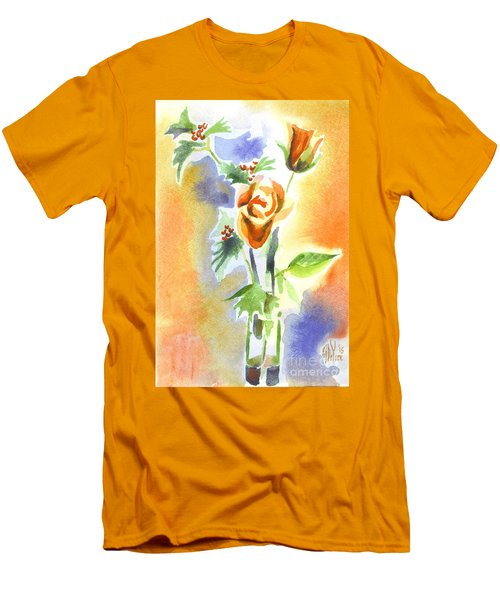 Men's T-Shirt (Slim Fit) featuring the painting Blue With Redy Roses And Holly by Kip DeVore