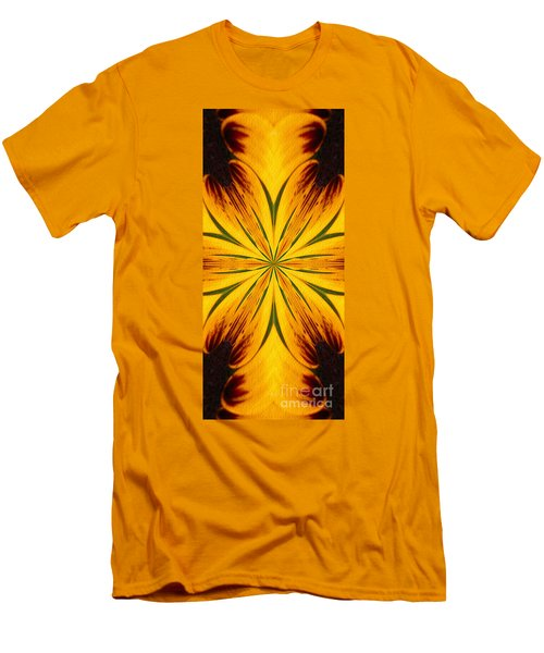 Brown And Yellow Abstract Shapes Men's T-Shirt (Athletic Fit)