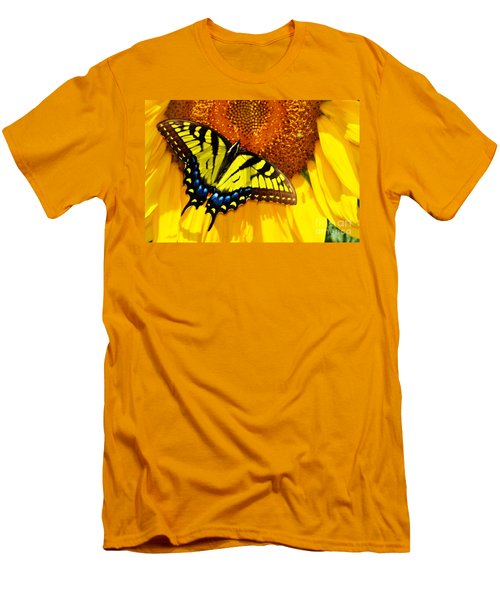 Butterfly And The Sunflower Men's T-Shirt (Athletic Fit)