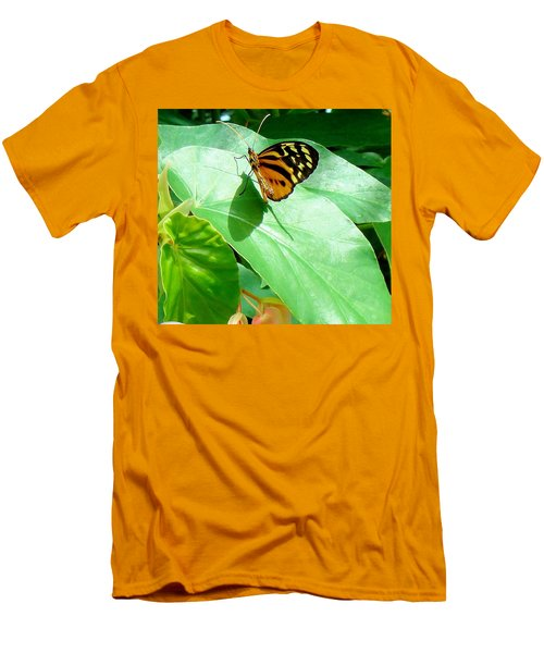 Men's T-Shirt (Slim Fit) featuring the photograph Butterfly Chasing Shadow by Janette Boyd