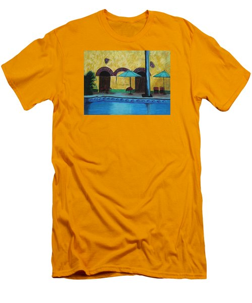 Men's T-Shirt (Slim Fit) featuring the painting By The Poolside by Jeanne Fischer