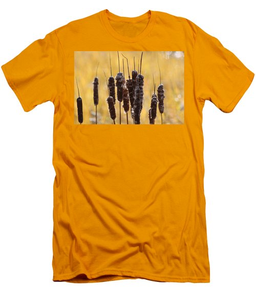 Men's T-Shirt (Slim Fit) featuring the photograph Cat Tails In November by Bruce Patrick Smith