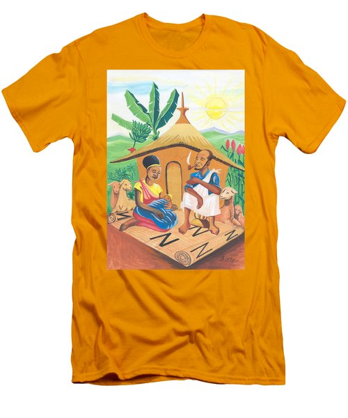 Men's T-Shirt (Slim Fit) featuring the painting Celebration Of The Nativity In Rwanda by Emmanuel Baliyanga