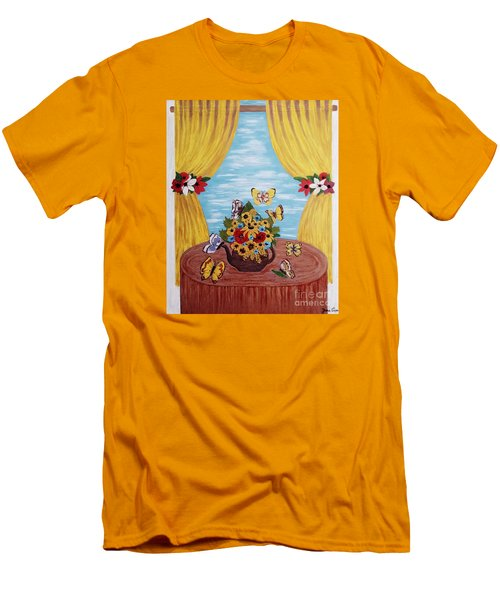 Men's T-Shirt (Slim Fit) featuring the painting Cheerful Butterflies by Jasna Gopic