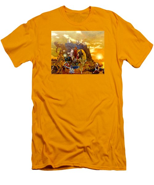 Men's T-Shirt (Slim Fit) featuring the painting Constructors Of Time by Henryk Gorecki